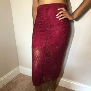 HIGH WAISTED RED LACE SKIRT